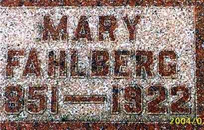 LUNDBORG FAHLBERG, MARY - Lincoln County, South Dakota   MARY LUNDBORG FAHLBERG - South Dakota Gravestone Photos