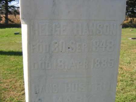 HANSON, HELGE - Lincoln County, South Dakota   HELGE HANSON - South Dakota Gravestone Photos