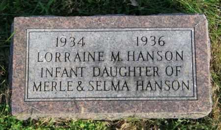 HANSON, LORRAINE M. - Lincoln County, South Dakota   LORRAINE M. HANSON - South Dakota Gravestone Photos