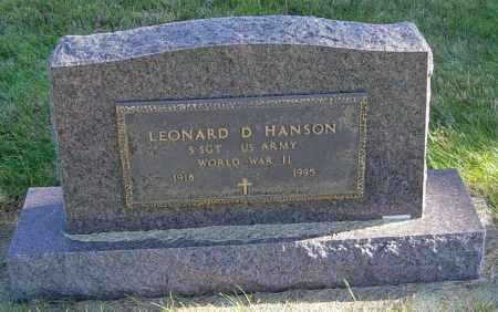 HANSON, LEONARD D - Lincoln County, South Dakota | LEONARD D HANSON - South Dakota Gravestone Photos