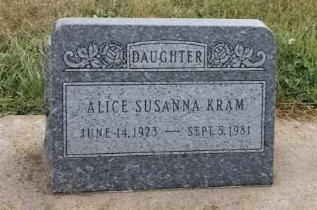 KRAM, ALICE SUSANNA - Lincoln County, South Dakota   ALICE SUSANNA KRAM - South Dakota Gravestone Photos
