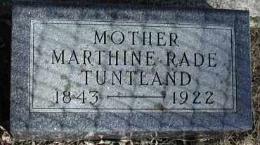TUNTLAND, MARTHINE RADE - Lincoln County, South Dakota | MARTHINE RADE TUNTLAND - South Dakota Gravestone Photos