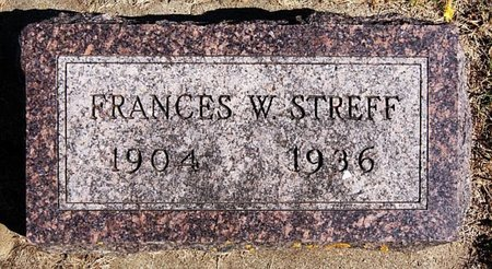 STREFF, FRANCES W - McCook County, South Dakota | FRANCES W STREFF - South Dakota Gravestone Photos