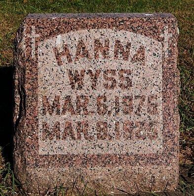 WYSS, HANNA - McCook County, South Dakota   HANNA WYSS - South Dakota Gravestone Photos