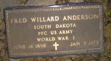 ANDERSON, FRED WILLARD (WW I) - Miner County, South Dakota | FRED WILLARD (WW I) ANDERSON - South Dakota Gravestone Photos