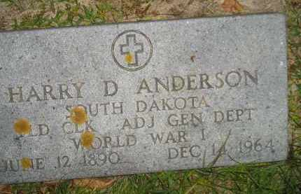 ANDERSON, HARRY D. (WW I) - Miner County, South Dakota   HARRY D. (WW I) ANDERSON - South Dakota Gravestone Photos