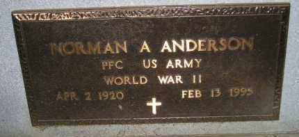 ANDERSON, NORMAN A. (WW II) - Miner County, South Dakota | NORMAN A. (WW II) ANDERSON - South Dakota Gravestone Photos