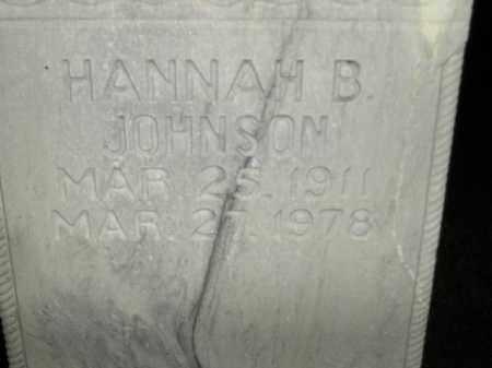 JOHNSON, HANNAH B. - Miner County, South Dakota | HANNAH B. JOHNSON - South Dakota Gravestone Photos