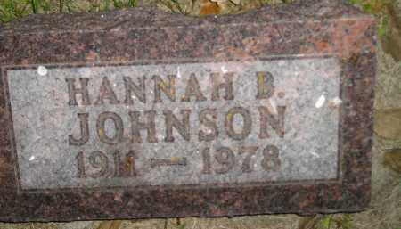 JOHNSON, HANNAH B. - Miner County, South Dakota | HANNAH B. JOHNSON - South Dakota Gravestone Photos