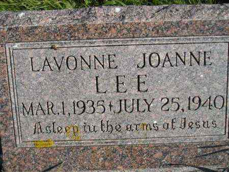 LEE, LAVONNE JOANNE - Miner County, South Dakota | LAVONNE JOANNE LEE - South Dakota Gravestone Photos