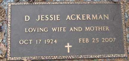ACKERMAN, D. JESSIE - Minnehaha County, South Dakota | D. JESSIE ACKERMAN - South Dakota Gravestone Photos