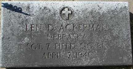 ACKERMAN, LEN D. (MILITARY) - Minnehaha County, South Dakota | LEN D. (MILITARY) ACKERMAN - South Dakota Gravestone Photos