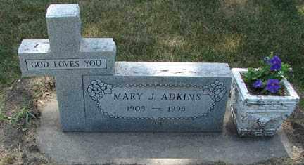 ADKINS, MARY J. - Minnehaha County, South Dakota   MARY J. ADKINS - South Dakota Gravestone Photos