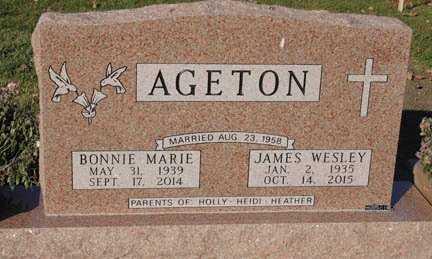 AGETON, JAMES WESLEY - Minnehaha County, South Dakota | JAMES WESLEY AGETON - South Dakota Gravestone Photos