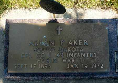 AKER, ALLAN PERRY (WWI) - Minnehaha County, South Dakota | ALLAN PERRY (WWI) AKER - South Dakota Gravestone Photos