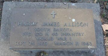 ALLISON, HARRY JAMES - Minnehaha County, South Dakota   HARRY JAMES ALLISON - South Dakota Gravestone Photos