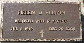 ALLTON, HELEN D. - Minnehaha County, South Dakota | HELEN D. ALLTON - South Dakota Gravestone Photos