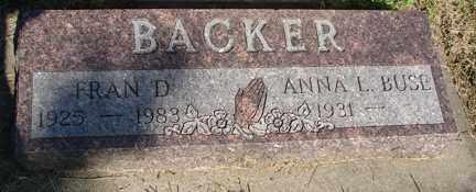 BACKER, FRANCIS D. - Minnehaha County, South Dakota | FRANCIS D. BACKER - South Dakota Gravestone Photos