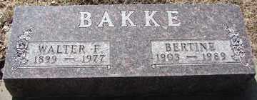 BAKKE, WALTER F. - Minnehaha County, South Dakota   WALTER F. BAKKE - South Dakota Gravestone Photos