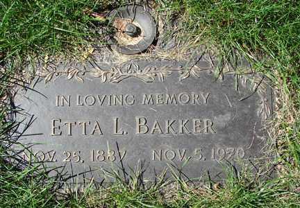 BAKKER, ETTA L. - Minnehaha County, South Dakota   ETTA L. BAKKER - South Dakota Gravestone Photos