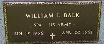 BALK, WILLIAM L. (MILITARY) - Minnehaha County, South Dakota   WILLIAM L. (MILITARY) BALK - South Dakota Gravestone Photos