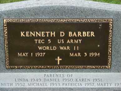 BARBER, KENNETH D. - Minnehaha County, South Dakota   KENNETH D. BARBER - South Dakota Gravestone Photos
