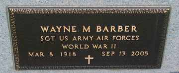 BARBER, WAYNE M. (WWII) - Minnehaha County, South Dakota | WAYNE M. (WWII) BARBER - South Dakota Gravestone Photos