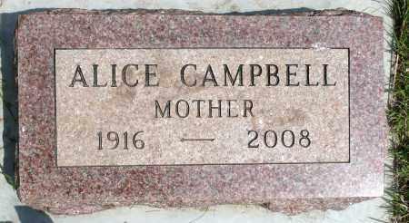 CAMPBELL, ALICE - Minnehaha County, South Dakota   ALICE CAMPBELL - South Dakota Gravestone Photos