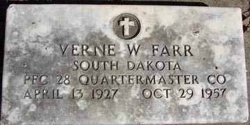 FARR, VERNE W. - Minnehaha County, South Dakota | VERNE W. FARR - South Dakota Gravestone Photos
