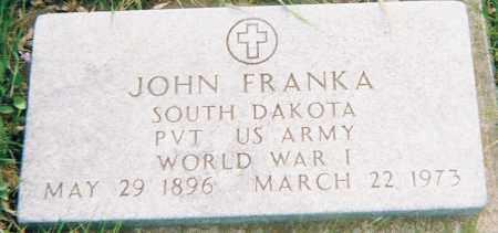 FRANKA, JOHN (WWI) - Minnehaha County, South Dakota | JOHN (WWI) FRANKA - South Dakota Gravestone Photos