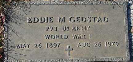 GEDSTAD, EDDIE M. (WWI) - Minnehaha County, South Dakota   EDDIE M. (WWI) GEDSTAD - South Dakota Gravestone Photos
