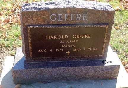 GEFFRE, HAROLD - Minnehaha County, South Dakota | HAROLD GEFFRE - South Dakota Gravestone Photos