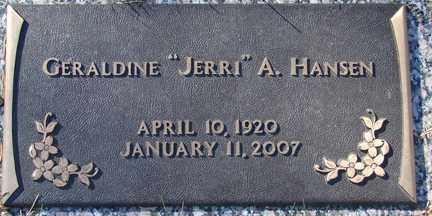 "HANSEN, GERALDINE A. ""JERRI"" - Minnehaha County, South Dakota | GERALDINE A. ""JERRI"" HANSEN - South Dakota Gravestone Photos"