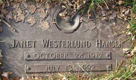 HANSEN, JANET WESTERLUND - Minnehaha County, South Dakota | JANET WESTERLUND HANSEN - South Dakota Gravestone Photos