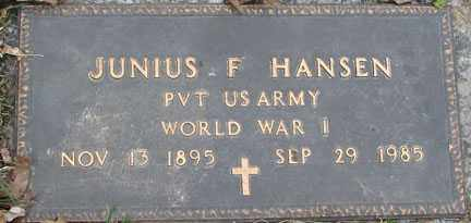 HANSEN, JUNIUS F. - Minnehaha County, South Dakota   JUNIUS F. HANSEN - South Dakota Gravestone Photos