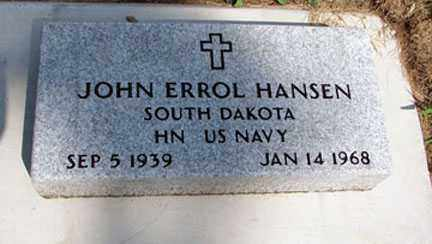 HANSEN, JOHN ERROL (NEW STONE) - Minnehaha County, South Dakota | JOHN ERROL (NEW STONE) HANSEN - South Dakota Gravestone Photos