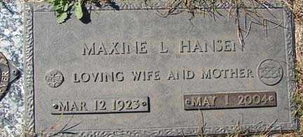 HANSEN, MAXINE LOIS - Minnehaha County, South Dakota | MAXINE LOIS HANSEN - South Dakota Gravestone Photos