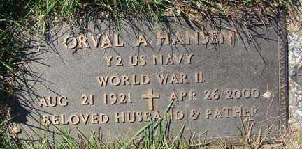 HANSEN, ORVAL A. - Minnehaha County, South Dakota   ORVAL A. HANSEN - South Dakota Gravestone Photos
