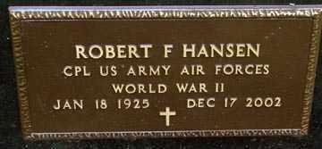 HANSEN, ROBERT F. (WWII) - Minnehaha County, South Dakota   ROBERT F. (WWII) HANSEN - South Dakota Gravestone Photos