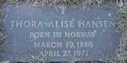 HANSEN, THORA ALISE - Minnehaha County, South Dakota | THORA ALISE HANSEN - South Dakota Gravestone Photos