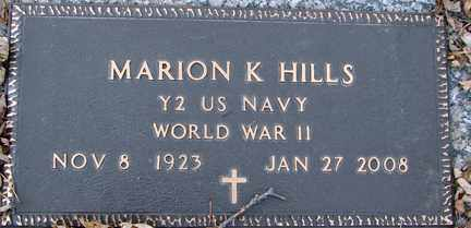 HILLS, MARION K. (WWII) - Minnehaha County, South Dakota | MARION K. (WWII) HILLS - South Dakota Gravestone Photos