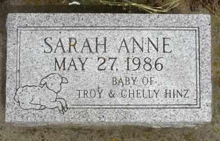 HINZ, SARAH ANNE - Minnehaha County, South Dakota   SARAH ANNE HINZ - South Dakota Gravestone Photos