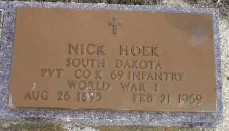 HOEK, NICK (WWI) - Minnehaha County, South Dakota | NICK (WWI) HOEK - South Dakota Gravestone Photos