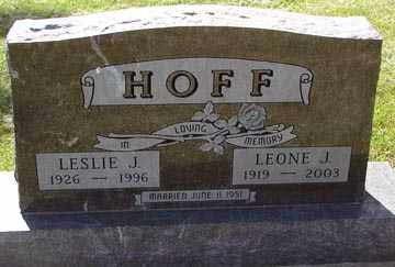 HOFF, LESLIE J. - Minnehaha County, South Dakota | LESLIE J. HOFF - South Dakota Gravestone Photos