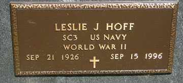 HOFF, LESLIE J. (WWII) - Minnehaha County, South Dakota | LESLIE J. (WWII) HOFF - South Dakota Gravestone Photos