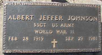 JOHNSON, ALBERT JEFFER - Minnehaha County, South Dakota   ALBERT JEFFER JOHNSON - South Dakota Gravestone Photos