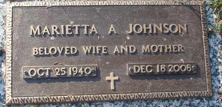 JOHNSON, MARIETTA ARLENE - Minnehaha County, South Dakota | MARIETTA ARLENE JOHNSON - South Dakota Gravestone Photos