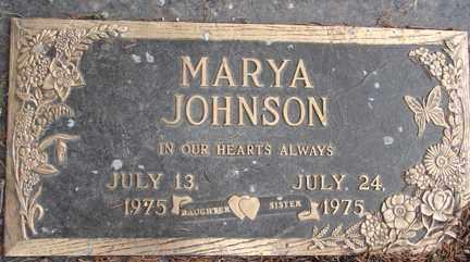 JOHNSON, MARYA - Minnehaha County, South Dakota   MARYA JOHNSON - South Dakota Gravestone Photos