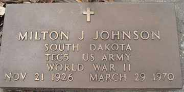 JOHNSON, MILTON J. (WWII) - Minnehaha County, South Dakota | MILTON J. (WWII) JOHNSON - South Dakota Gravestone Photos