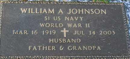 JOHNSON, WILLIAM A. (WWII) - Minnehaha County, South Dakota | WILLIAM A. (WWII) JOHNSON - South Dakota Gravestone Photos